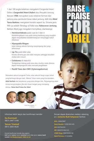 Raise & Praise for Abiel, yuk donasi utk adik kita Abiel Tama Baskara yang mengalami Congenital Heart Defect