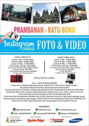 Prambanan - Ratu Boko Instagram Photo & Video Contest   22 Agustus - 30 September 2016