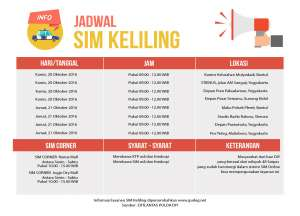 Jadwal SIM Keliling Kamis - Jumat Pekan Ketiga Oktober 2016