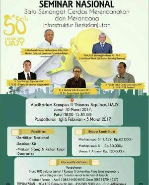 """Seminar Nasional """"Satu Semangat Cerdas Merencanakan dan Merencanakan Infrastruktur Yang Berkelanjutan"""""""