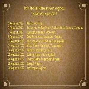 Info Jadwal Rasulan Agustus 2017 Kab. Gunungkidul
