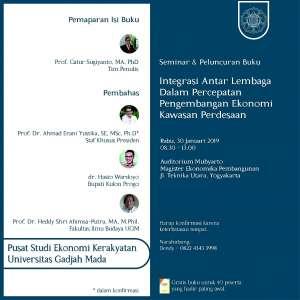 Peluncuran Buku dan Seminar Integrasi Antar Lembaga dalam Percepatan Pengembangan Ekonomi Kawasan Pedesaan