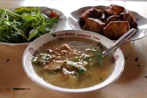 Soto kemasan dikenal juga sebagai soto kemangi atau soto pithes