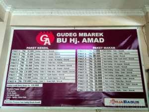 Daftar Menu di Warung Gudeg Bu Amad
