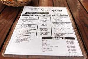Daftar harga makanan dan minuman di Gudeg Yu Djum Bandara Adisucipto