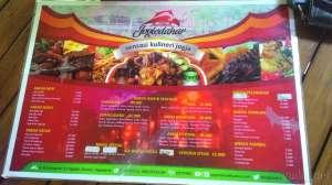 Daftar menu makanan dan minuman di Joglo Dahar