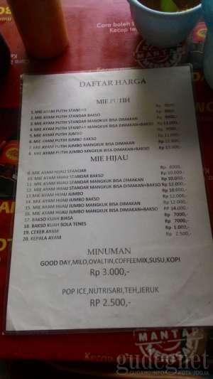 """Daftar harga di Mie Ayam """"Ijo"""" Ungaran"""