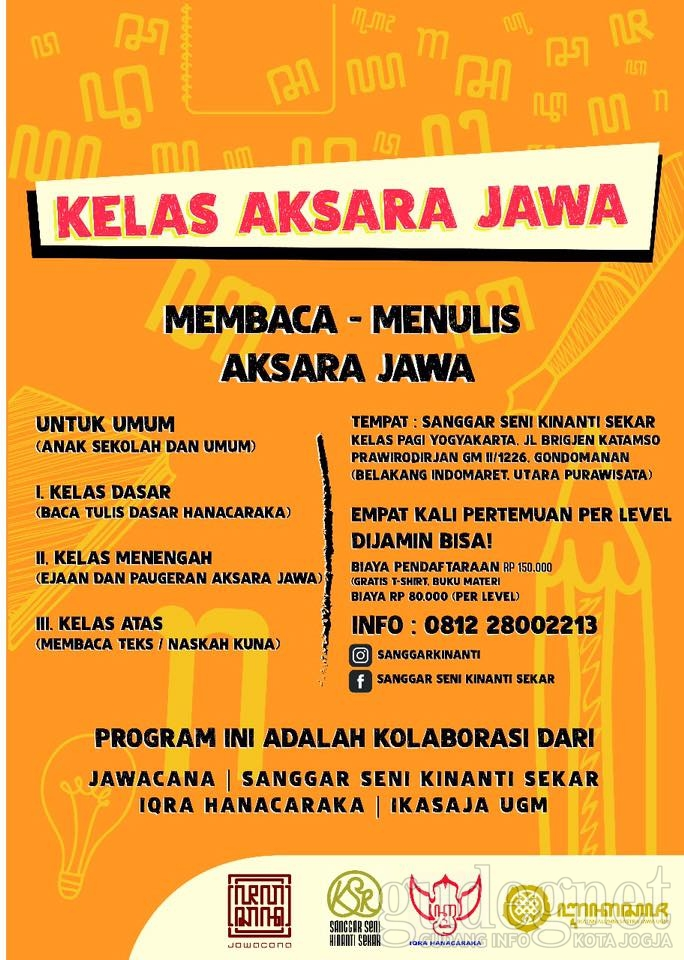 Tinggal Seminggu Lagi, Yuk Daftar Kelas Aksara Jawa