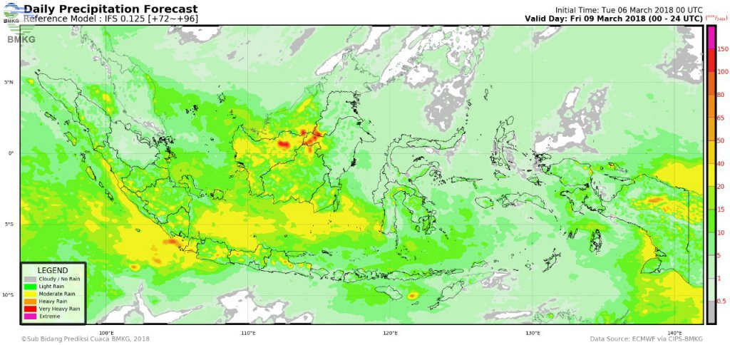 BMKG: 7-10 Maret 2018, Potensi Hujan Lebat Meningkat